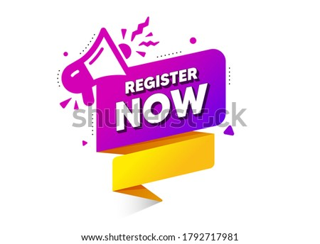 Register now vector banner. Free registration with megaphone. Announcement button with loudspeaker. Origami speech bubble with megaphone icon. Register now ribbon tag. Loudspeaker vector banner.