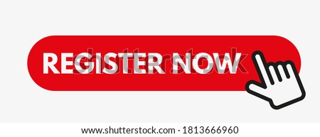 Register now vector illustration with  cursor arrow and click button. Hand clicking on registration button.