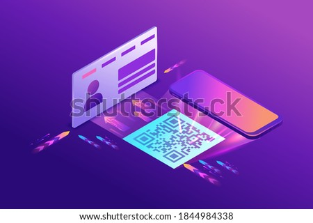 Register on the website by using qr code, user enters the web page working with interface, access to account, 3d isometric vector illustration, purple gradient Сток-фото ©