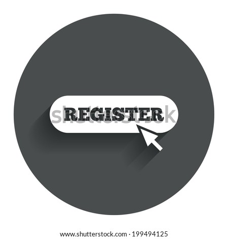 Register With Cursor Pointer Sign Icon. Membership Symbol. Website ...