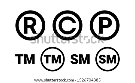 Registered Trademark Copyright Patent and Service Mark Icon Set Сток-фото ©