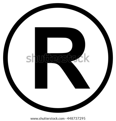 Registered Trademark symbol , isolated black vector illustration