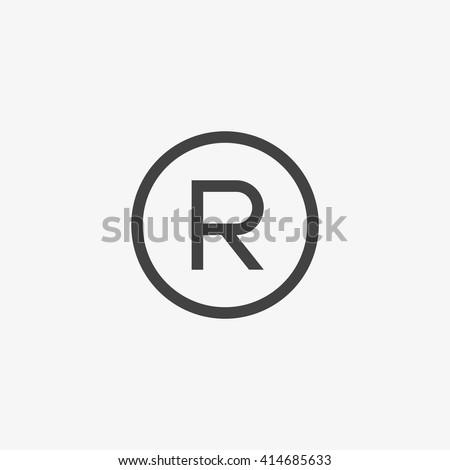 Registered Trademark symbol isolated on grey background. Vector illustration, EPS10.