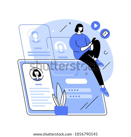 Registration abstract concept vector illustration. Registration page, name and password field, fill in form, menu bar, corporate website, create account, user information abstract metaphor.