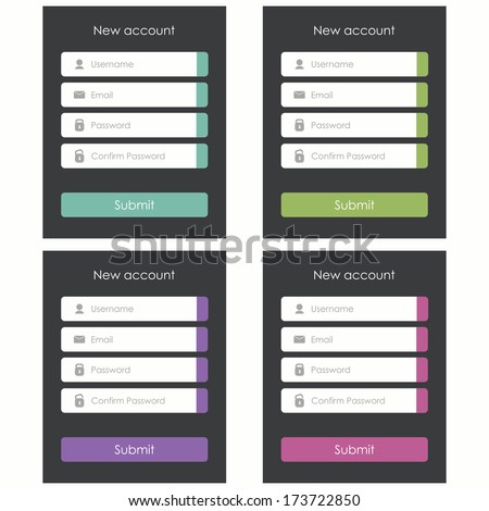Registration form. Flat design. Template for website and mobile app ...