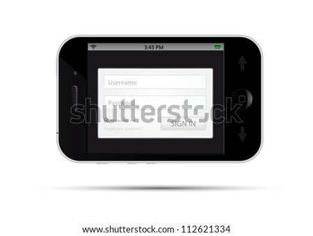 registration form gray-silver on universal no name smart phone with remembering and forgotten password