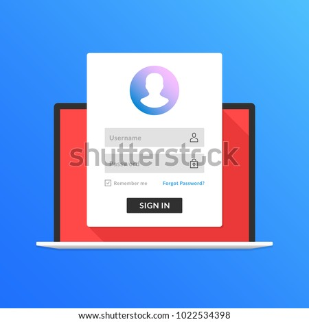 Registration page on laptop screen. Notebook and online login form, sign in page. User profile, access to account concepts. Modern flat design graphic elements. Long shadow design. Vector illustration