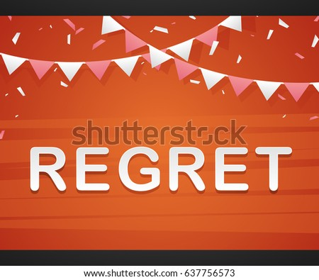 regret on red background with