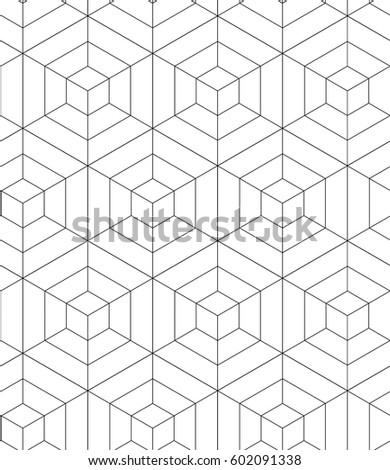 REGULAR GEOMETRIC. SEAMLESS MODERN PATTERN. OPTIC ART. HEXAGONAL BASIC SHAPE