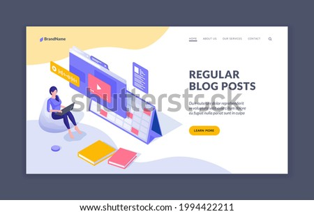Regular posting information in blog. Woman blogger uploads new video to online channel. Social marketing to attract new viewers and subscribers. Vector isometric landing page template Photo stock ©