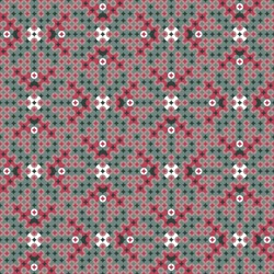 Regular seamless geometric pattern in red and green with white accent made of dots and geometric shapes. Great for Christmas backgrounds, wrapping paper and interior decoration fabric.