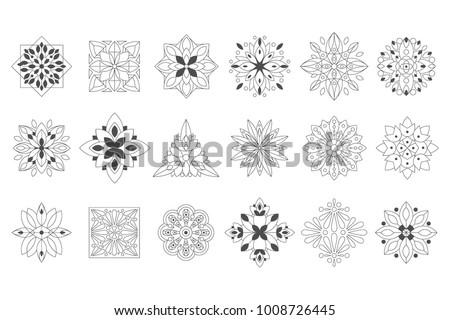Regular Shape Doodle Ornamental Figures In Black White Color For The Zen Adult Coloring Book
