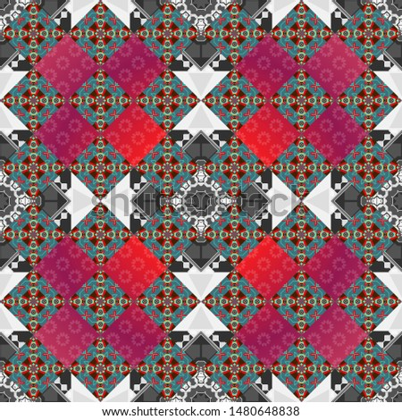 Regularly repeating tiles grids with pink, blue and gray dots, polygons, hexagons, rhombuses, difficult polygonal outline shapes. Stylish geometric seamless pattern. Modern vector linear ornament.