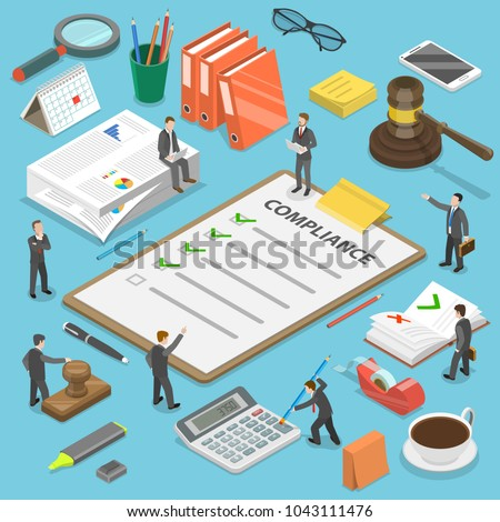 Regulatory compliance flat isometric vector concept. Businessmen are discussing steps to comply with relevant laws, policies, and regulations.