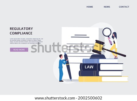 Regulatory compliance website banner with tiny people characters working on documents law legalization and business workflow, flat vector illustration on blue background. Stock photo ©