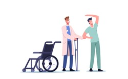 Rehabilitating Physical Activity, Orthopedic Therapy Rehabilitation. Therapist Doctor Character Working With Disabled Patient, Exercises, Physiotherapy Procedures. Cartoon People Vector Illustration