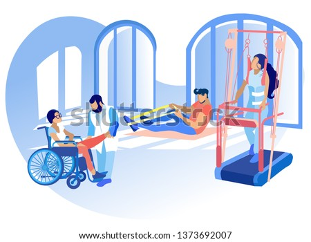 Rehabilitation Disabled Physiotherapy Vector. Correction or Replacement Lost Physical Abilities Body with Help Therapeutic or Adaptive Physical Education. People Engaged Physical Education.