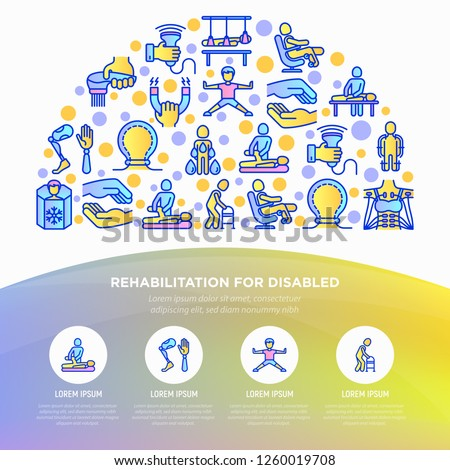 Rehabilitation for disabled concept in half circle with thin line icons: magnetic therapy, laser, massage, lymphatic drainage, exoskeleton, cryotherapy, biomechatronics. Vector illustration.