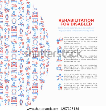 Rehabilitation for disabled concept with thin line icons: magnetic therapy, laser, massage, lymphatic drainage, exoskeleton, cryotherapy, biomechatronics, suspension system. Vector illustration.