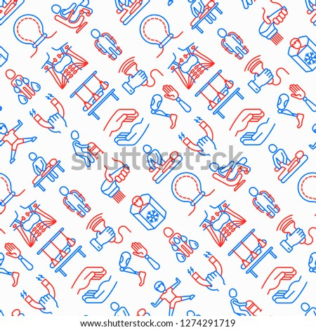 Rehabilitation for disabled seamless pattern  with thin line icons: magnetic therapy, laser, massage, lymphatic drainage, exoskeleton, cryotherapy, suspension system. Vector illustration.