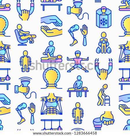 Rehabilitation for disabled seamless pattern  with thin line icons: magnetic therapy, laser, massage, lymphatic drainage, exoskeleton, cryotherapy, biomechatronics. Vector illustration.