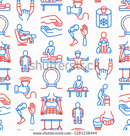 Rehabilitation for disabled seamless pattern  with thin line icons: magnetic therapy, massage, lymphatic drainage, exoskeleton, cryotherapy, biomechatronics, suspension system. Vector illustration.
