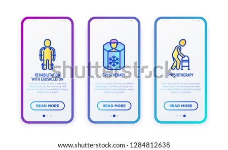 Rehabilitation for disabled thin line icons set: exoskeleton, cryotherapy, physiotherapy. Vector illustration for user mobile interface.