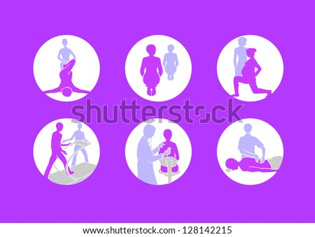 rehabilitation, massage, health exercises icons, simply vector shapes