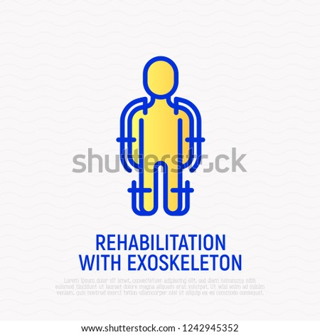 Rehabilitation with exoskeleton thin line icon. Modern vector illustration.