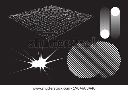 Reimagined retro-futurism designs of the 80-90's brutalist style. New look at design, with distorted and extraordinary forms, bold abstract geometric shapes. For web, media, sci-fi scenes, games logo Stockfoto ©
