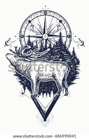 Reindeer and compass tattoo. Deer and compass ethnic tribal tattoo. Adventure, travel, outdoors, symbol. Tattoo for travelers, climbers, hikers, wild forest