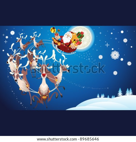 Reindeer And Santa Claus Christmas flying during winter snow