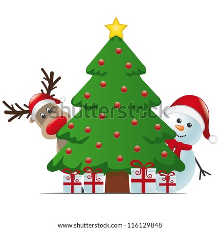 reindeer and snowman behind christmas tree gifts