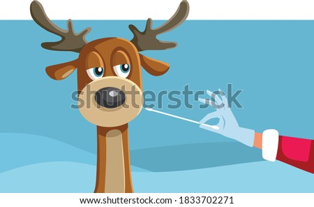 Reindeer Being Swabbed for a Covid-19 Test by Santa Claus. Santa taking measures to assure a safe Christmas holiday during pandemic