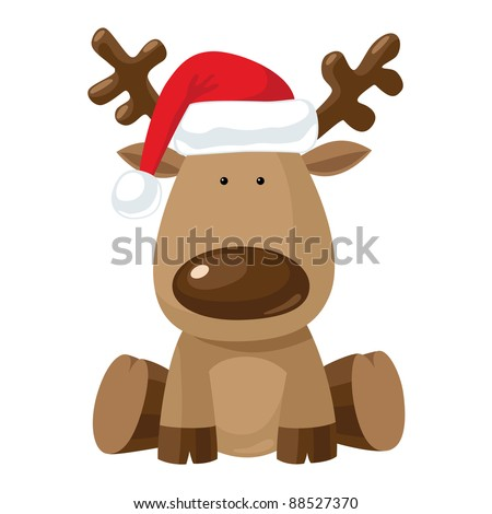 Reindeer child sitting in Christmas red hat.