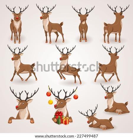 reindeer christmas icons set