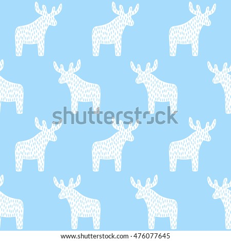 reindeer christmas pattern on light blue background simple seamless happy new year background winter
