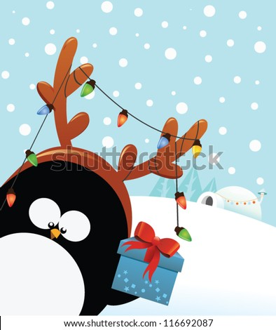 Reindeer Costumed Penguin With Gift - stock vector