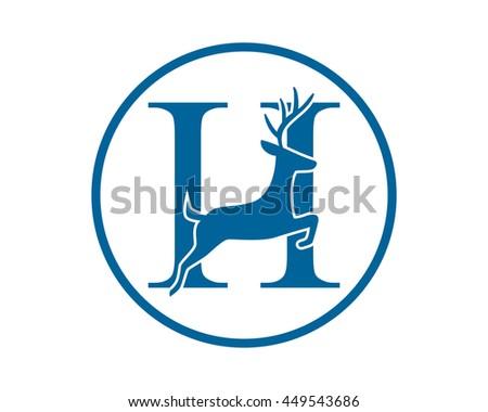 reindeer deer stag typography alphabet image vector icon Foto stock ©