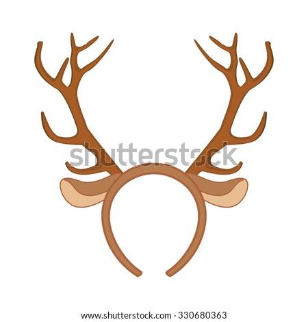 Reindeer Mask. Funny Christmas Reindeer Horns Vector ...