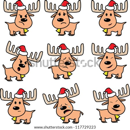 reindeer of Santa on Christmas emotion, happy, sad, sorrow, angry vector