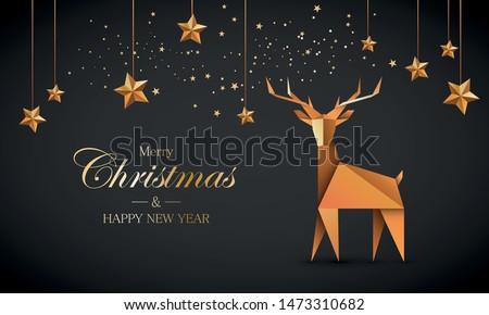 Reindeer origami. Chrismas greeting card vector.