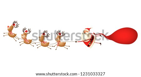 Reindeer pulling Santa Claus - cute funny Christmas illustration isolated on white