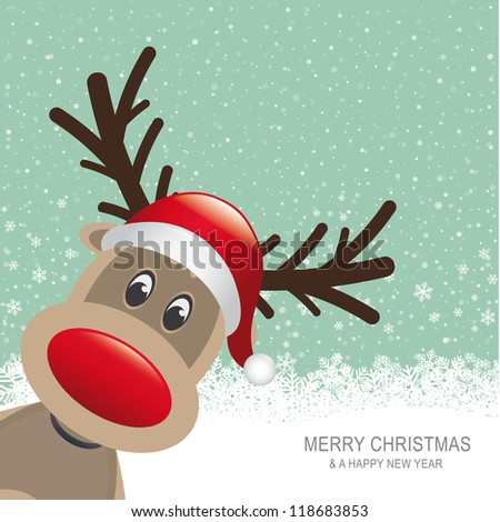 reindeer red hat snow snowflake green background