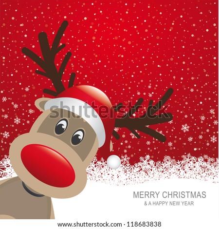 reindeer red hat snow snowflake red background
