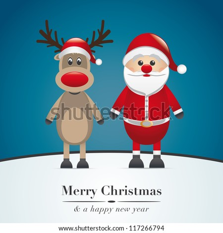 reindeer red nose and santa claus