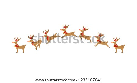 Reindeer, running, jumping, animation, cartoon character moving, cute, Christmas vector isolated on white background