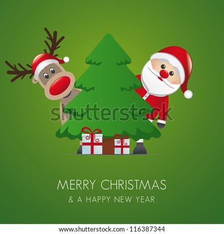 reindeer santa claus christmas gift box pinetree