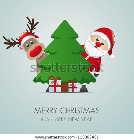 reindeer santa claus christmas tree gift box - stock vector