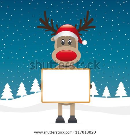 reindeer santa hat hold billboard winter landscape